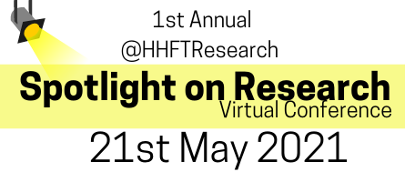 Image: stage spotlight with yellow light. wording: 'Spotlight on Research' Conference 21st May 2021